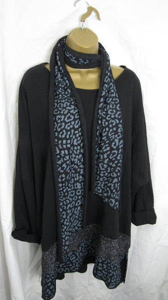 Ladies Italian Black Leopard Print Scarf Tunic Top Long Sleeved One Size Fits 16 18 20 22