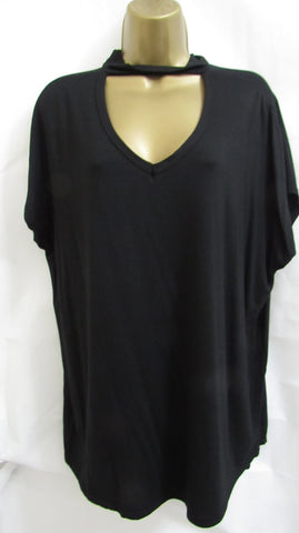 NEW Ladies Lagenlook BLACK Choker Tunic Top Short Sleeved SIZED 16-18, 20-22 and 24-26