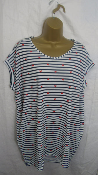 NEW Ladies Blue white Stripe Heart Pocket T Shirt Top One Size Fits 16 18 20