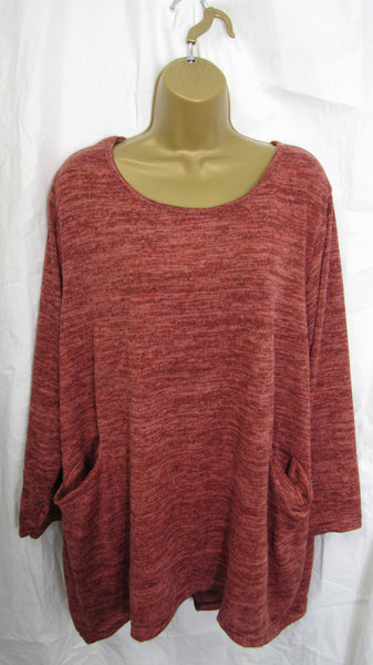 NEW Ladies Rust Pocket Lightweight Tunic Jumper Top One Size Fits 16 18 20 22