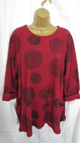 Ladies Italian Red Black Spot Pocket Tunic Top One Size Fits 14 16 18 20 22