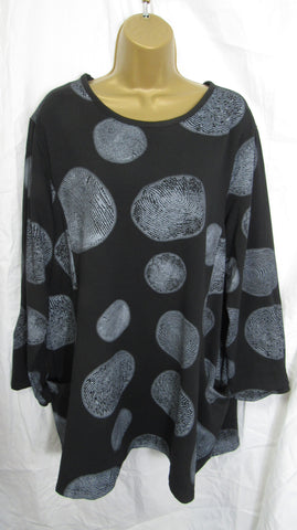 Ladies Italian Black White Spot Pocket Tunic Top One Size Fits 14 16 18 20 22