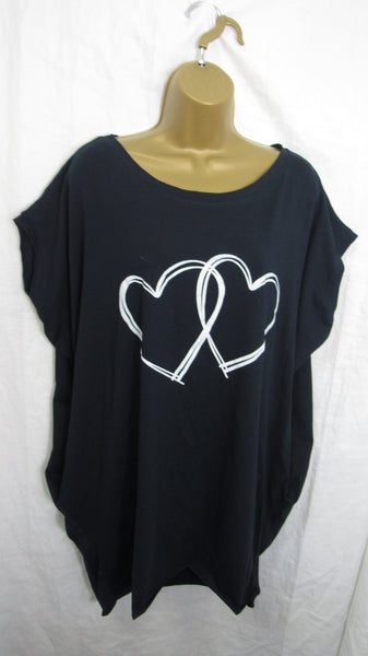 Ladies Italian Navy Blue Double Heart Pocket Tunic Top Short Sleeved One Size Fits 14 16 18 20