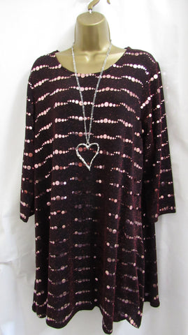 SALE SALE SALE NEW Ladies Lagenlook RED Circle Sparkle Tunic Top SIZED ITEM 14, 16, 18, 20, 22-24, 26-28