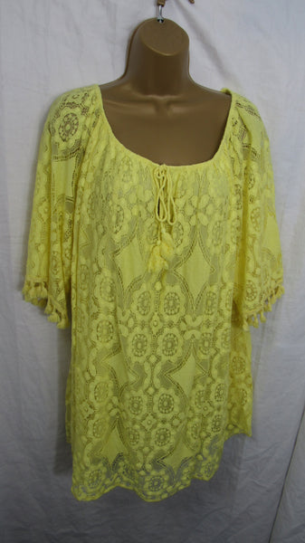 New Ladies Lemon Yellow Lacy Tunic Top One Size Fits 16 18 20 22