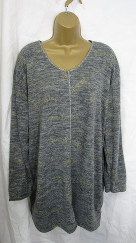 NEW Ladies Grey with Gold Detailing Tunic Top Jumper One Size Fits 16 18 20 22