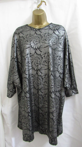 SALE SALE SALE NEW Ladies Lagenlook GREY FLORAL SPARKLE Tunic Top SIZED ITEM 14, 16, 18, 20, 22-24, 26-28