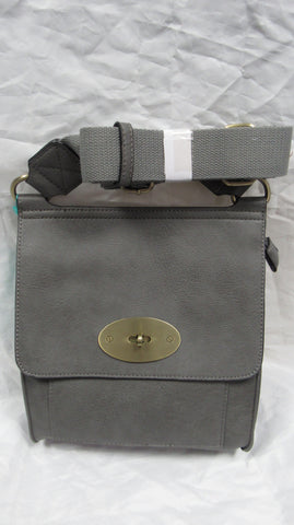 SPECIAL OFFER NEW Ladies Grey Faux Leather Handbag Cross Shoulder Messenger Bag