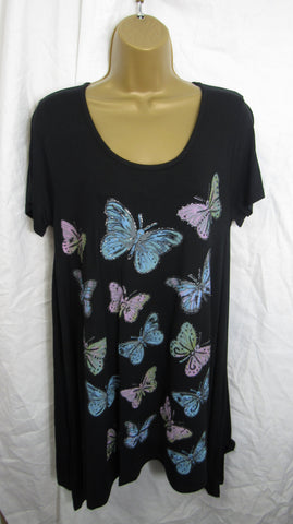 Ladies Black Butterfly Print Swing Tunic Top Short Sleeved Sized Item 14, 16 18 20 22-24 26-28
