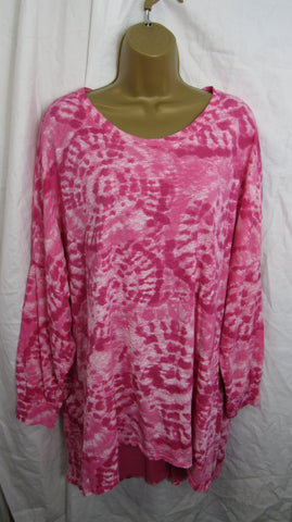NEW Ladies Hot Pink Tie Dye Long Sleeve Lightweight Tunic Top One Size Fits 16 18 20 22