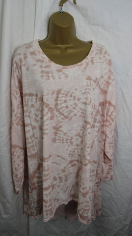 NEW Ladies Dusky Pink Tie Dye Long Sleeve Lightweight Tunic Top One Size Fits 16 18 20 22