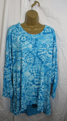 NEW Ladies Aqua Blue Tie Dye Long Sleeve Lightweight Tunic Top One Size Fits 16 18 20 22