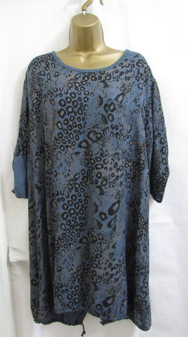 SALE SALE SALE NEW Lagenlook BLUE ANIMAL PRINT  Tunic Top ONE SIZE FITS 12 14 16
