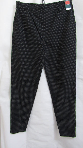 NEW Ladies BLACK WITH WHITE SPOT Stretch Trousers Pants Elasticated Waist -SIZED ITEM 12 14 16 18 20 22