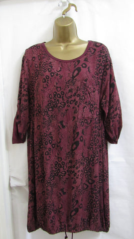 SALE SALE SALE NEW Lagenlook PLUM ANIMAL PRINT Tunic Top ONE SIZE FITS 12 14 16