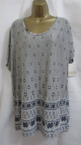 NEW Ladies Italian Lagenlook GREY FLORAL T-SHIRT TUNIC TOP ONE SIZE FITS 14 16 18 20