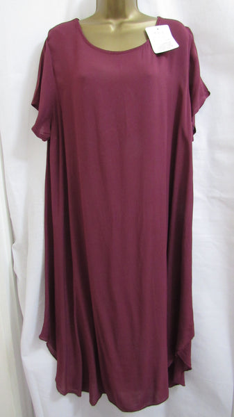 NEW Lagenlook WINE FIT AND FLARE Dress ONE SIZE FITS 16 18 20 22