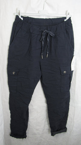 NEW Ladies Navy Blue Cargo Pocket Stretchy Magic Trousers One Size Fits 10 12 14 16 Smaller Size