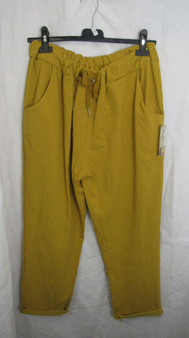 NEW Ladies Mustard Stretchy Magic Trousers One Size Fits 18 20 22 PLUS SIZE