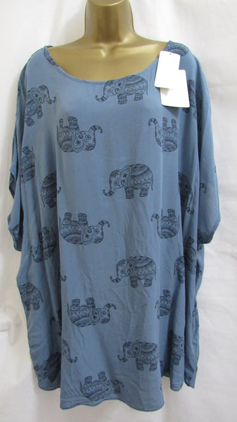 NEW Ladies Italian Lagenlook DENIM BLUE ELEPHANT TUNIC TOP ONE SIZE FITS 18 20 22 24