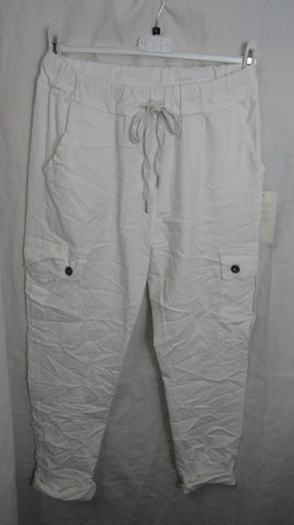 NEW Ladies White Cargo Pocket Stretchy Magic Trousers One Size Fits 18 20 22 Plus Size
