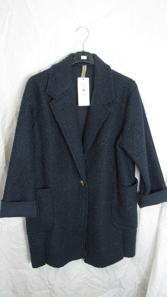20% OFF NEW Ladies Lagenlook Navy Blue One Button Pocket Coat One Size Fits 12 14 16 18