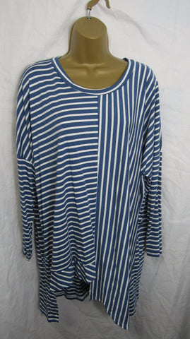 NEW Ladies Denim Blue White Stripe Tunic Top One Size Fits 14 16 18 20