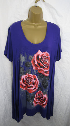 Ladies Purple 3 Rose Print Swing Tunic Top Short Sleeved Sized Item 14 16 18 20 22-24 26-28