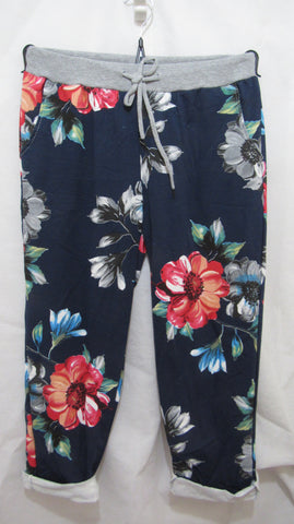 2 for £25 NEW Ladies Blue with Pink Floral Joggers Leggings One Size Fits 16 18 20 PLUS SIZE