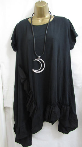 NEW Ladies Lagenlook Black Short Sleeved Frill Hem Tunic Top One Size Fits 14 16 18 20 22