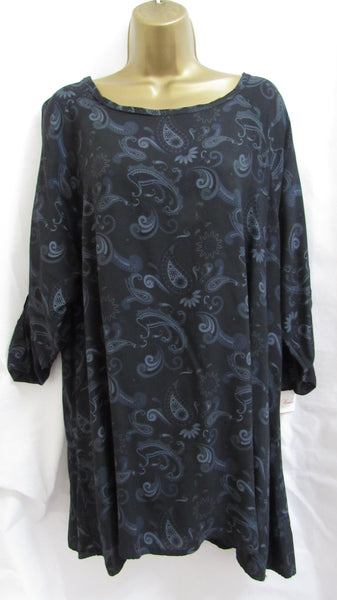 3754e37587bad NEW Lagenlook BLACK FLORAL PRINT TUNIC TOP ONE SIZE FITS 12 14 16 18 ...