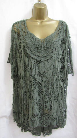 NEW Ladies Italian Lagenlook KHAKI GREEN 2 piece Floral Lace Tunic Top ONE SIZE FITS 16 18 20 22