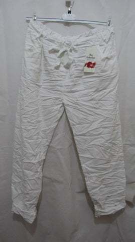 NEW Ladies White Stretchy Magic Trousers One Size Fits 16 18 20