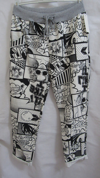 NEW Ladies Black Comic Strip Joggers Leggings ONE SIZE FITS 10 12 14 16 SMALLER SIZE