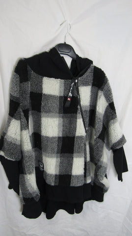 NEW Ladies Black Check Pocket Hooded Coat One Size Fits 16 18 20 22