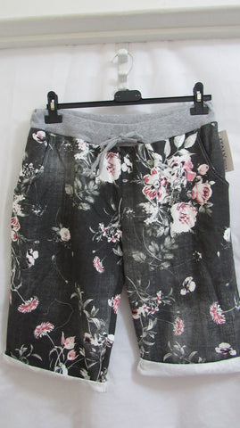 2 for £25 NEW Ladies Grey Floral Joggers Shorts One Size Fits 16 18 20 Plus Size