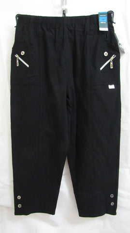 NEW Ladies Black Stretch 3/4 length capri trousers pants SIZED ITEM 14 16 18 20 22 24
