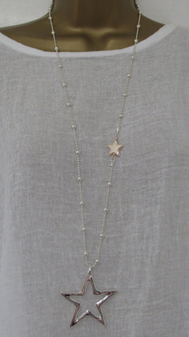 NEW Lagenlook SILVER / ROSE GOLD Coloured Star Pendant Nickle Free Long Necklace