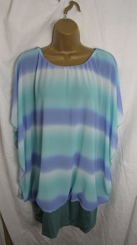Sale Sale Sale NEW Ladies Purple with Green Band Floaty Tunic Top One Size Fits 18 20 22 Non Returnable