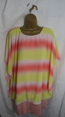 Sale Sale Sale NEW Ladies Lemon Pink Band Floaty Tunic Top One Size Fits 18 20 22 Non Returnable