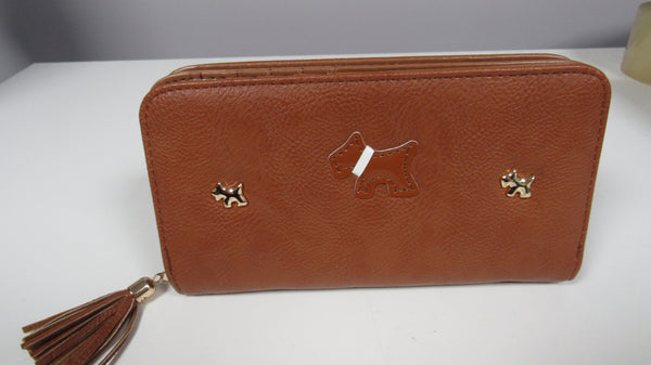 NEW Ladies Brown Dog Faux Leather Zip Around Purse Larger size