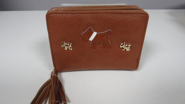 NEW Ladies Brown DOG Faux Leather Zip Around Purse SMALLER size
