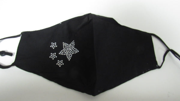 Black Diamante Stars Adjustable Face Mask