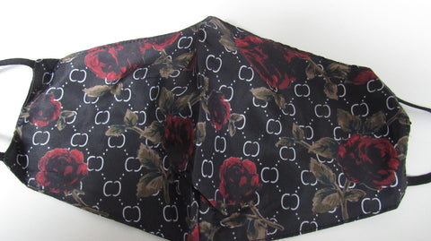 Black with Red Roses Print Adjustable Face Mask