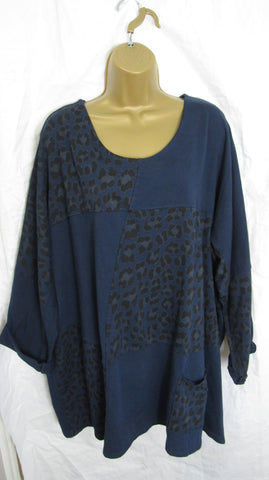 NEW Ladies Lagenlook Navy Blue Face Leopard Print Tunic Top One Size Fits 16 18 20 22