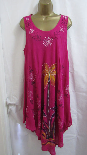 NEW Ladies Floral Pink Summer Sun Dress Beach ONE SIZE FITS 10 12 14 16 18 20