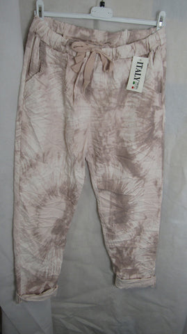 NEW Ladies Pink Tie Dye Stretchy Magic Trousers One Size Fits 18 20 22 PLUS SIZE
