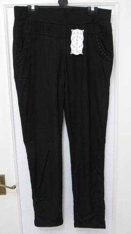 NEW Ladies Black Stretchy Straight Leg Trousers - So Comfortable - Sizes 14/16, 18/20 and 22/24
