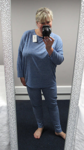 NEW Ladies Blue Lounge Pants and Tunic Top One Size Fits 16 18 20