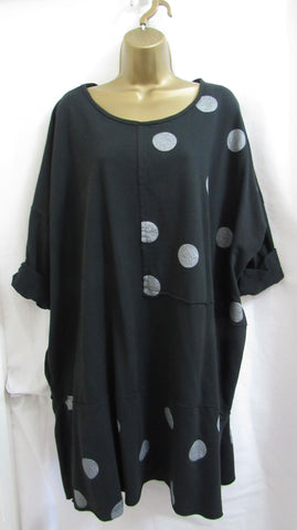 NEW Ladies Lagenlook BLACK SPOT TUNIC TOP OR DRESS ONE SIZE FITS 20 22 24